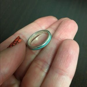 Tiffany silver blue enamel ring Sz 4/5